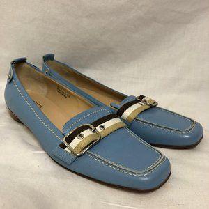 Coach P481 Lia Italian Leather Blue Loafers 10B